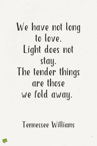 We have not long to love. Light does not stay. The tender things are those we fold away. Tennessee Williams