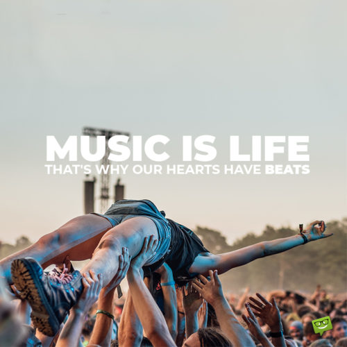 Music quote on concert photo.