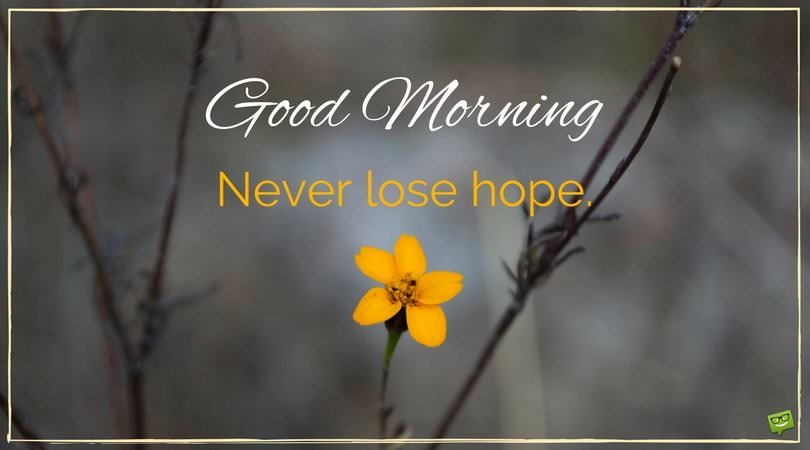 Good Morning quote about never losing hope. On pic with ...