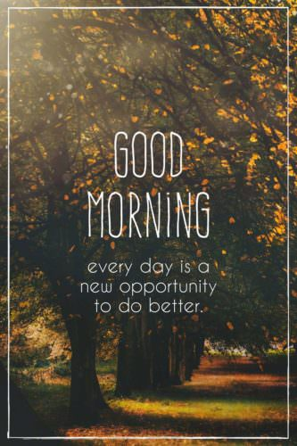 Good Morning. Everyday is a new opportunity to do better.