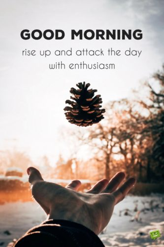 Good Morning. Rise up and attack the day with enthusiasm.