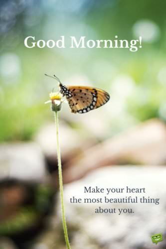 Good morning. Make your heart the most beautiful thing about you.