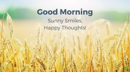 Good Morning. Sunny Smiles, Happy Thoughts!