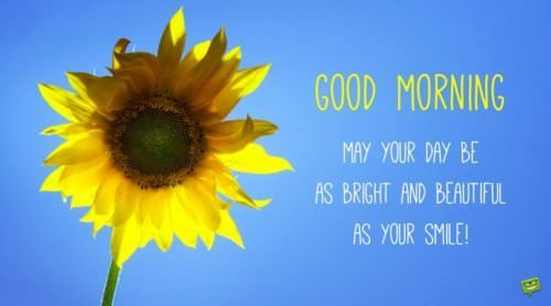 Good morning. May your day be as bright and beautiful as your smile!