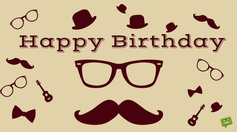 Happy Birthday to a Hipster man on picture with icons of glasses and bow tie