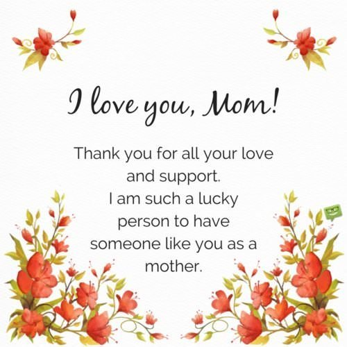 I love you, Mom! Thank you for all your love and support. I am such a lucky person to have someone like you as a mother.