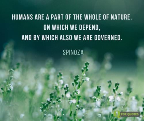 humans are a part of the whole of Nature, on which we depend, and by which also we are governed. Spinoza.