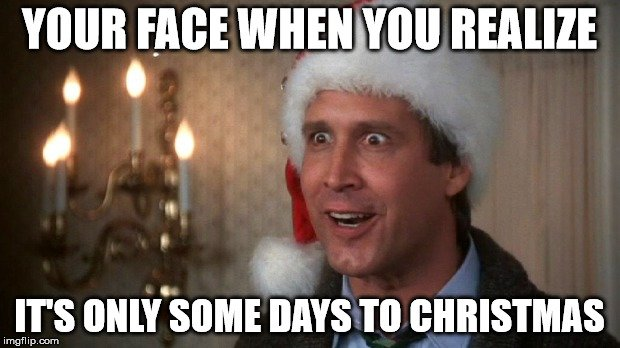Your face when you realize it's only some days to Christmas.