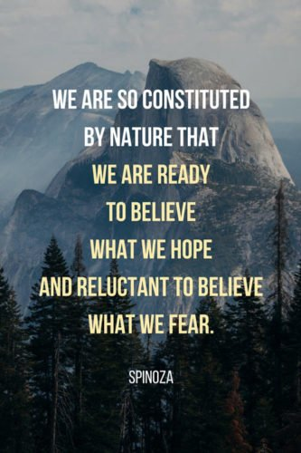 We are so constituted by nature that we are ready to believe what we hope and reluctant to believe what we fear. Spinoza