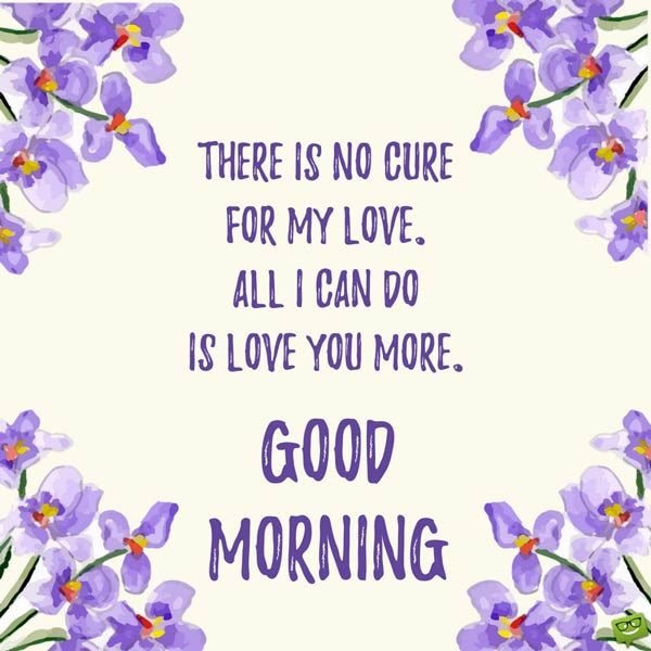 There is no cure for my love. All I can do is love you more. Good Morning.
