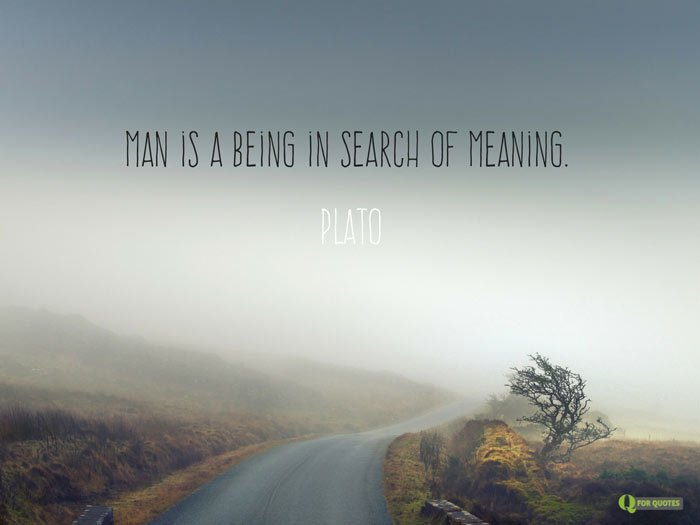 Man is a being in search of meaning. Plato