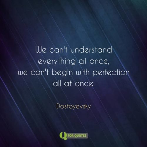 We can't understand everything at once, we can't begin with perfection all at once. Dostoyevsky