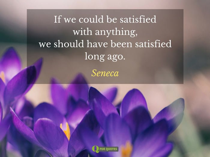 If we could be satisfied with anything, we should have been satisfied long ago. Seneca