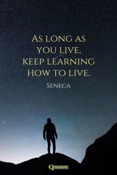 As long as you live, keep learning how to live.