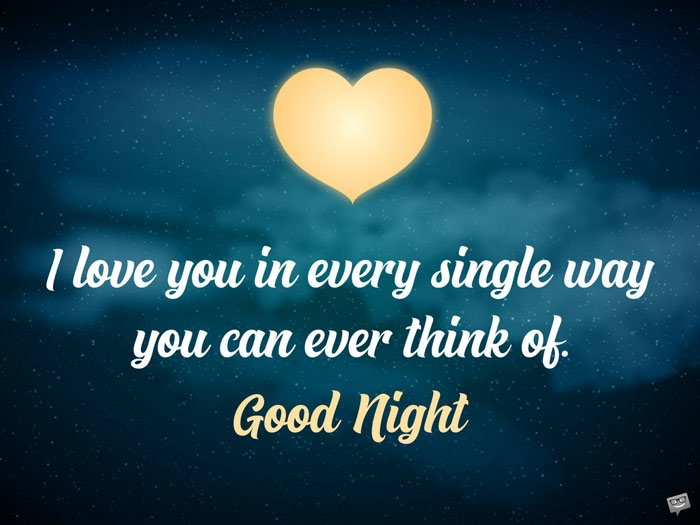 I love you in every single way you can ever think of. Good Night.