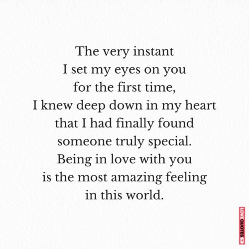 The very instant I set my eyes on you for the first time, I knew deep down in my heart that I had finally found someone truly special. Being in love with you is the most amazing feeling in this world.