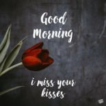 Good Morning, I miss your kisses.