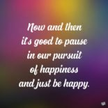 Now and then it's good to pause in our pursuit of happiness and just be happy. Guillaume Apollinaire