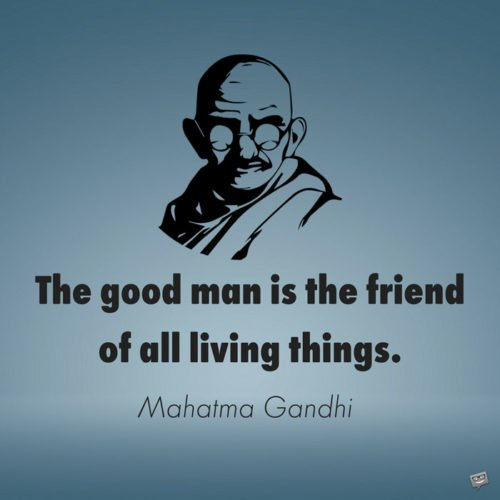 The good man is the friend of all living things. Mahatma Gandhi