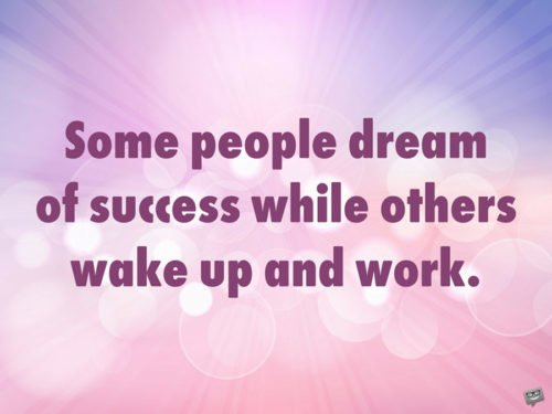 Some people dream of success while others wake up and work.