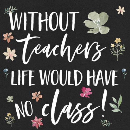 Without teachers life would have no class!