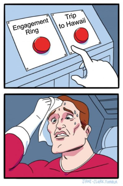 Two Buttons engagement Meme.