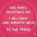 This year's Valentine's Day I will enjoy long, romantic walks to the fridge.