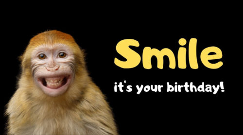 Smile, it's your birthday! Funny happy birthday image of smiling monkey..