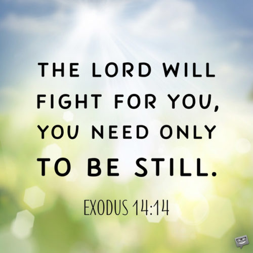 The Lord will fight for you, you need only to be still. Exodus 14:14