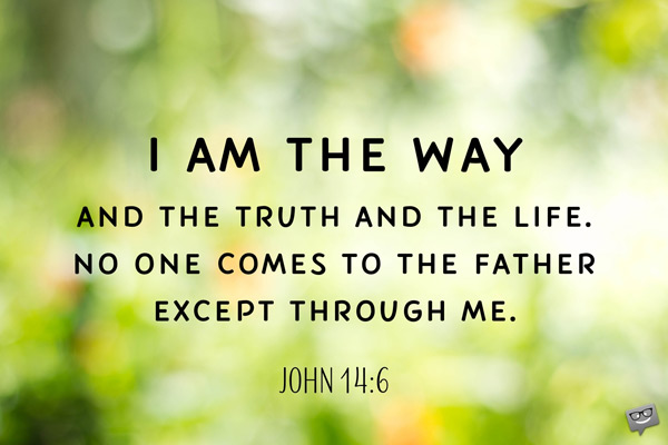I am the way and the truth and the Life. No one comes to the Father except through me. John 14:6