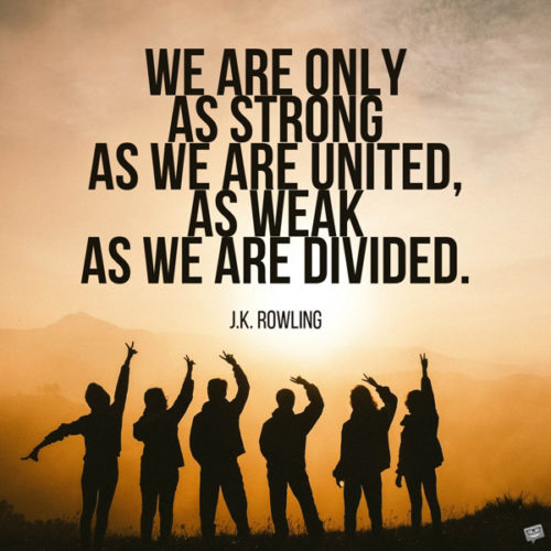 We are only as strong as we are united, as weak as we are divided. J.K. Rowling