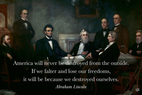 Abraham Lincoln quote on image with the fathers