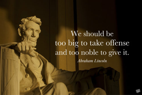 Abraham Lincoln inspirational quote on image for easy sharing on chats and posts.