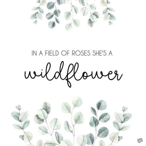 In a field of roses she's a wildflower.