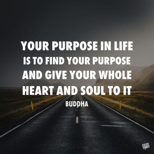 Your purpose in life is to find your purpose and give your whole heart and soul to it. Buddha