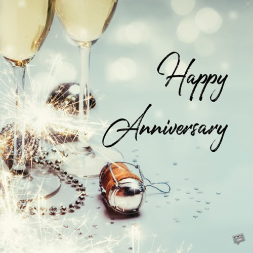 Happy Anniversary image with champagne glasses.