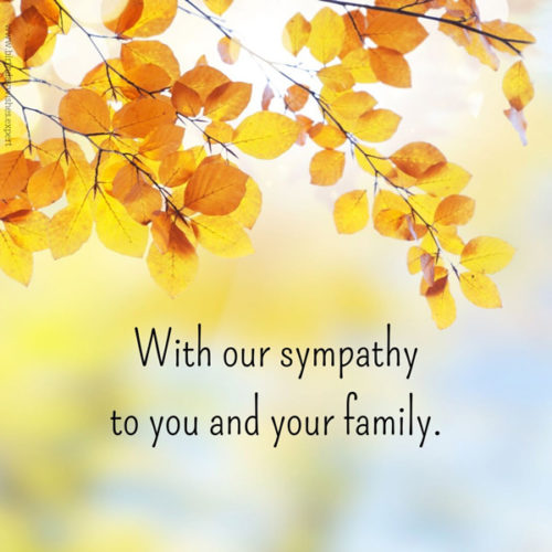 Sympathy message for loss.