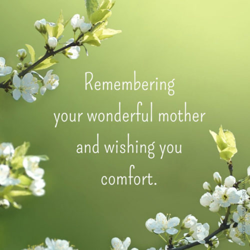 Sympathy message for loss of mother.
