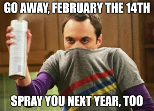 "Funny Sheldon ""Go away spray"" meme for Valentine's Day."