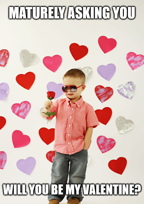 Maturely asking you, will you be my valentine - Hey Girl Valentine meme