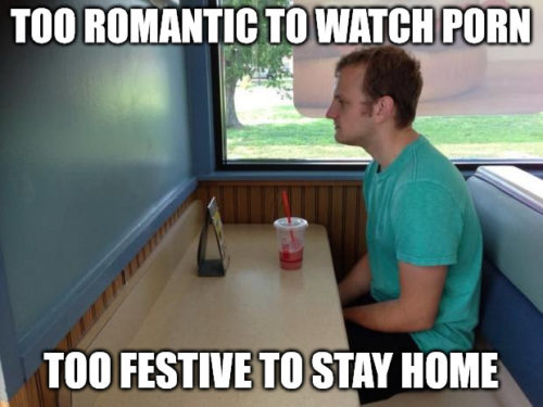 """Funny """"Forever alone booth"""" meme for Valentine's Day."""
