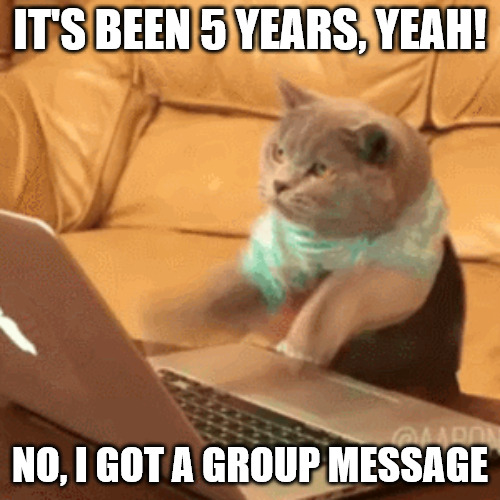 Fast typing cat meme for Work Anniversary.