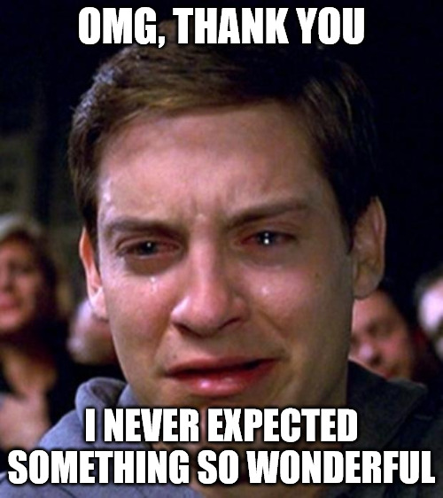 Crying Peter Parker Thank you Meme.