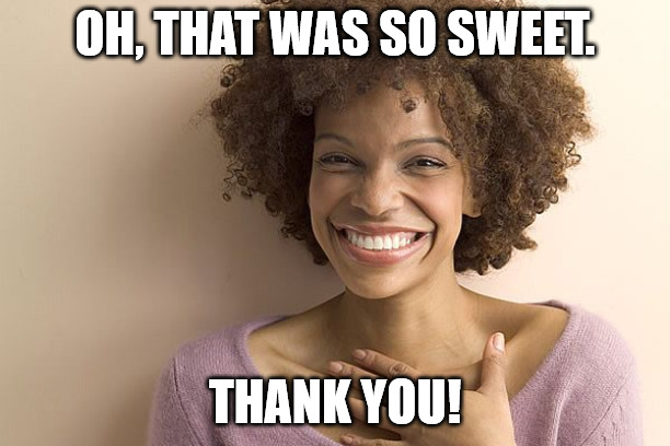 Thank you meme with cute girl.