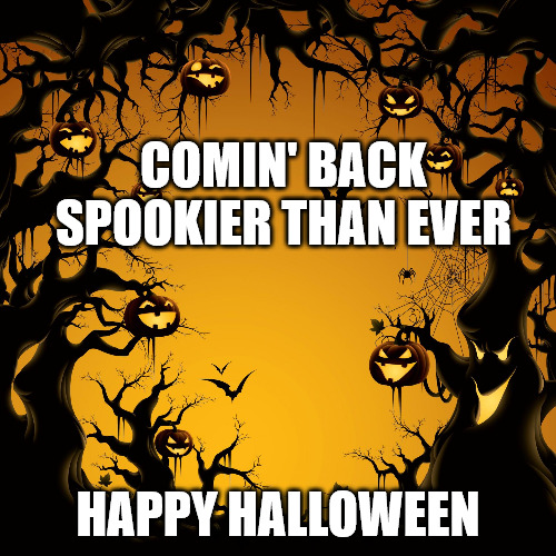 Happy Halloween Meme with spooky background.